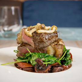 Beef Steak with Mushrooms by Sabin Malisevschi - Food & Drink Plated Food ( dish, steak, fresh, beef, plate, nice, table, restaurant, plating, mushrooms )