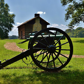 by Lisa Montcalm - Artistic Objects Antiques ( field, cabin, battle, landscape, cannon,  )