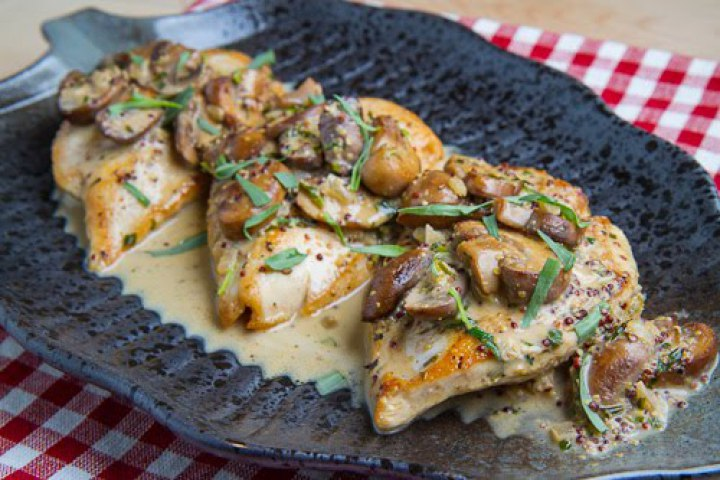 ... Seared Chicken Breasts in a Mushroom, Tarragon and Mustard Pan Sauce