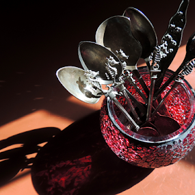 Spoons In the Afternoon by Jamie Boyce - Artistic Objects Cups, Plates & Utensils ( challenge, spoons, cutlery, tableware, utensils, light, antique, shadows, seahorse, kitchen utensil, silverware )