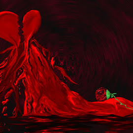 Broken Heart by Pamela NavarraWilliams-Shane - Digital Art Abstract ( love, rose, red, heart, flowing, green, bleeding heart, broken heart, black )