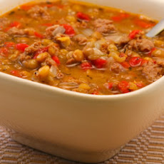 Lentil Soup Recipe with Italian Sausage and Roasted Red Peppers