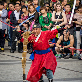 Sword Training by Mark Prusiecki - People Musicians & Entertainers ( ancient, namsan mountain, seoul, actor, entertainment, travel photography )