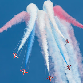Red Arrows by Luke Bezzina - Transportation Airplanes ( arrows, red, malta, blue, raf )