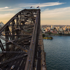 Steel by Tobias Weller - Buildings & Architecture Bridges & Suspended Structures ( harbor, sunset, harbour, australia, north sydney, bridge, bridge walk, steel, kirribilli, sydney )