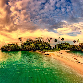 by Indrawaty Arifin - Landscapes Cloud Formations ( water, clouds, sunset, coconut tree, island )