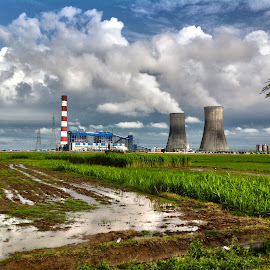 Power Plant amidst the fields by Havneet Singh - Landscapes Prairies, Meadows & Fields