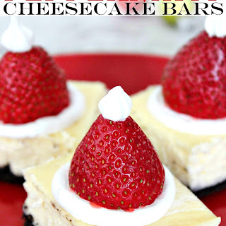 Santa Hat Peppermint Cheesecake Bars