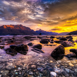 Amazing Queenstown Sunset by Pete Whittaker - Landscapes Sunsets & Sunrises ( mountains, sunset, lakes, landscape, new zealand )