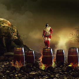 Fire dancer (Penari) by Juprinaldi Photoart II - Digital Art Things ( fire       dancer        smoke         sky        trees )