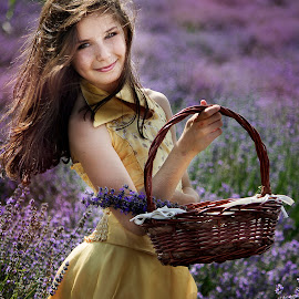 Lavender girl by Tsvetina Ivanova - People Portraits of Women ( child, girl, purple, yellow, lavender, flowers, portrait )