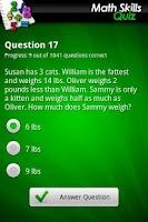 Screenshot of Ultimate Math Skills Quiz