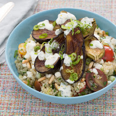 Quinoa Tabbouleh & Fairy Tale Eggplants with Toasted Pine Nuts & Yogurt Sauce