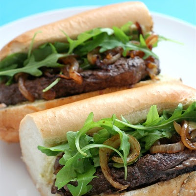 Steak Sandwiches with Rocket, Caramelised Onions and Cashel Blue Butter