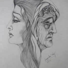 Two Worlds by Sayantani Roy - Drawing All Drawing