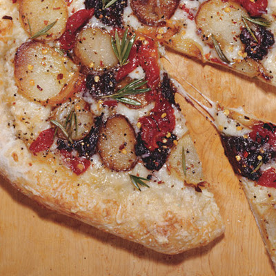 Pizza with Fontina, Potatoes, and Tapenade