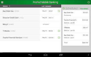 Screenshot of ProFed Online Mobile Banking