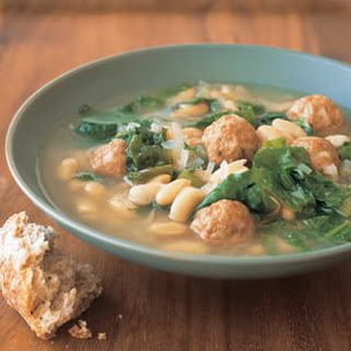 White Bean and Escarole Soup with Turkey Meatballs