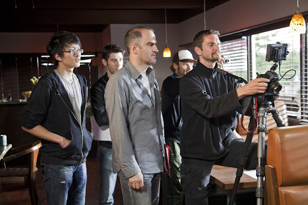 "From L to R: Willy Wong (Camera Assistant), Jono Freedrix (Co-Producer), Andy Thompson (Director), Ronnie Diehl (1st Assistant Camera) and Michael Julian Berz (Director of Photography) behind the scenes of ""Repair Man"".  Bettina Strauss photo (www.best-foto.com)."