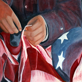 by Kathleen Hughes - Painting All Painting ( flag, the patriot, patriot )