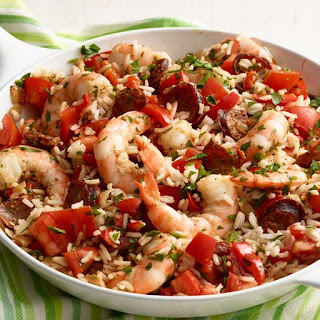 Skillet Shrimp, Sausage, and Rice