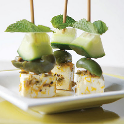 Marinated Feta and Olive Skewers