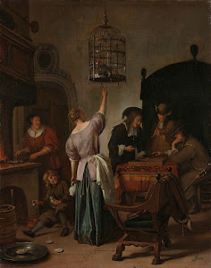 RIJKS: Jan Havicksz. Steen: Interior with a Woman Feeding a Parrot, Known as 'The Parrot Cage' 1670