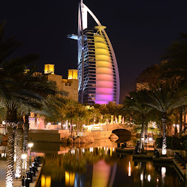 Burj Al Arab  by Aic'ha AR - Buildings & Architecture Office Buildings & Hotels ( madinat al jumeirah, reflection, uae, burj al arab, night, hotel,  )
