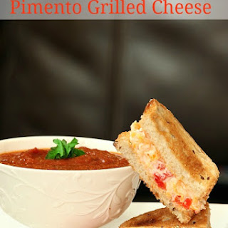 Tomato Basil Soup with Grilled Pimento Cheese Sandwiches #sundaysupper