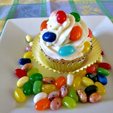 Vanilla Cupcakes with Vanilla Butter Cream and Jelly Bellys