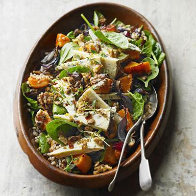 Blue Cheese, Butternut & Barley Salad With Maple Walnuts