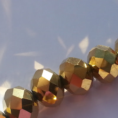 Gold Plated Crystal Glass Faceted Rondelle Beads 8mm 42cm
