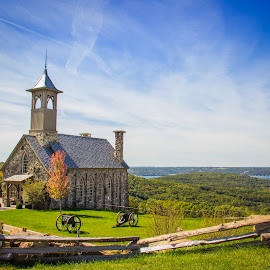 Autumn Church by Melissa Sweet-Leavins - Buildings & Architecture Places of Worship ( church, autumn, stone, lake, fall, color, colorful, nature )