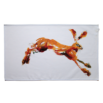 Rabbit hare tea towel art rustic shabby chic