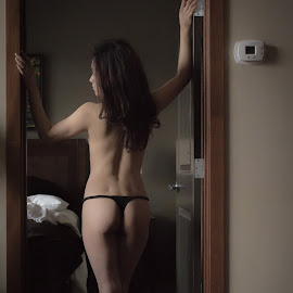You coming? by Jon Page - Nudes & Boudoir Boudoir ( thong, sexy, boudoir, woman, beautiful, pretty, portrait, sensual )