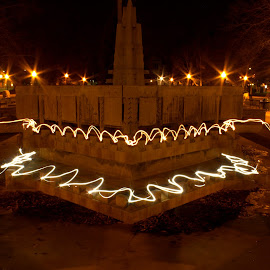 Fountain of Light by Daloma Poe - City,  Street & Park  City Parks ( night photography, fountains, painting with light, city park, nightscapes )