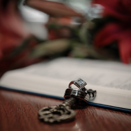Rings and Key by Lodewyk W Goosen-Photography - Wedding Details ( love, kiss, married, wedding, hitch, rings, couple, bride and groom, flowers, marriage, key )