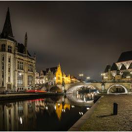 Ghent by Patrick Desmet - City,  Street & Park  Night