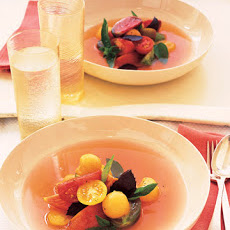 Tomato, Cantaloupe, and Basil Salad with Tomato Water