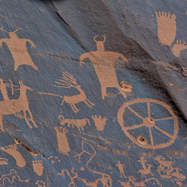 Pictographs on Newspaper Rock by Erin Czech - Nature Up Close Rock & Stone ( pictographs, horse, feet, rock, drawing,  )