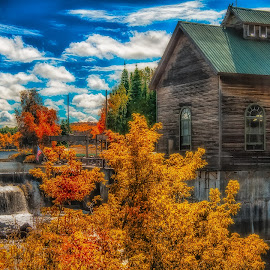 The Mill by Jerry Boyden - Buildings & Architecture Other Exteriors ( orange, mill, st.regis, autumn, dam, new york state, power dam, trees, adirondacks, gristmill, river )