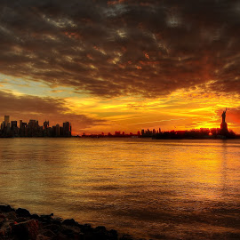 Liberty State Park (1) by Gary Aidekman - Landscapes Sunsets & Sunrises ( skyline, statue of liberty, nyc, sunrise, freedom tower, hudson river,  )