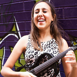 Musician on the lane by Tamara Jacobs - People Musicians & Entertainers ( music, fashion, girl, violin, graffiti, electric, street, musician, wall, city, violinist )