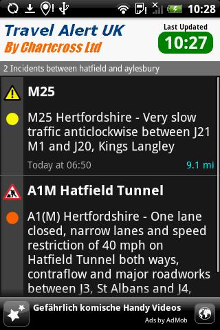 Traffic Travel Alert UK