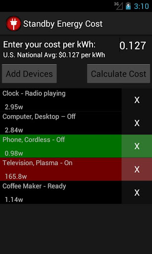 Standby Energy Cost Calculator