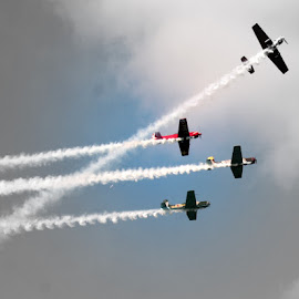 Airshow by Don Webb - Abstract Patterns ( flight, airplane, yak, smoke, airshow )