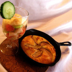 Dutch Pancake with Vanila Mousse and Cucumber, Grape Fruit Salad