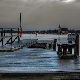 Daybreak by Bojan Bilas - City,  Street & Park  City Parks ( bench, park, finland, daybreak, baltic, city )