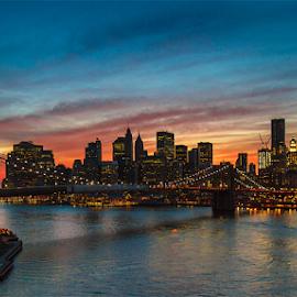 Brooklyn bridge - Manhattan by Roberto Melotti - City,  Street & Park  Skylines ( brooklyn bridge, skyline, roberto melotti, vision, manhattan, new york, canon 7d, usa, city, sight, big apple, vista, eyesight, view )