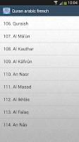Screenshot of Quran arabic french